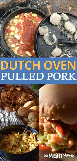 visual pulled pork being cooked in a dutch oven.