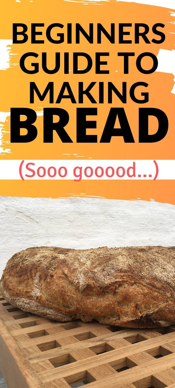 image of a bread, and the caption beginners guide to making bread, with black writing on a yellow background.