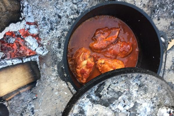 Campfire with a dutch oven, filled with chicken and barbeque sauce.