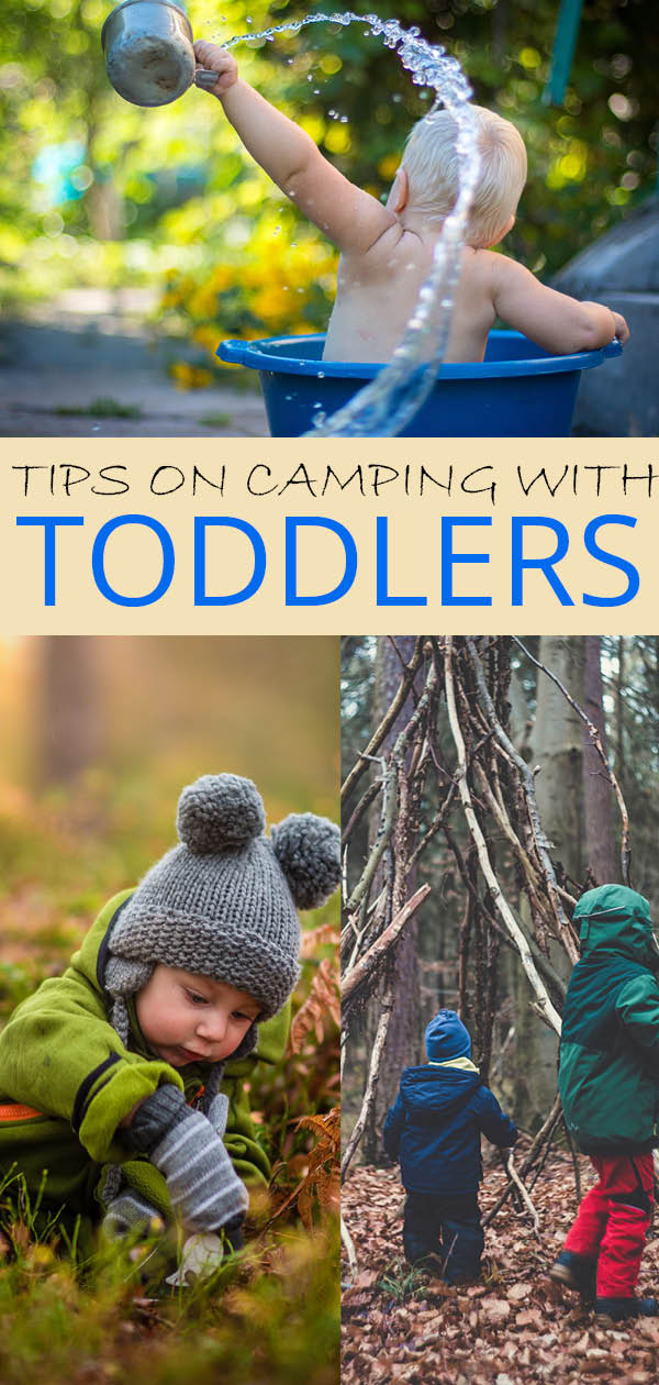 collage of toddlers going outdoors with a caption of tips for camping with toddlers