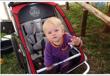 the thule chariot CX2 pictured with a toddler