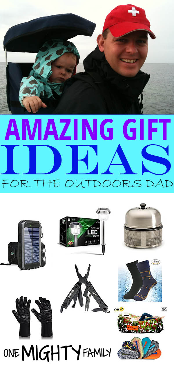 Collage of pictures with all of the products mentioned in the post, as well as the caption amazing gift ideas for the outdoors dad