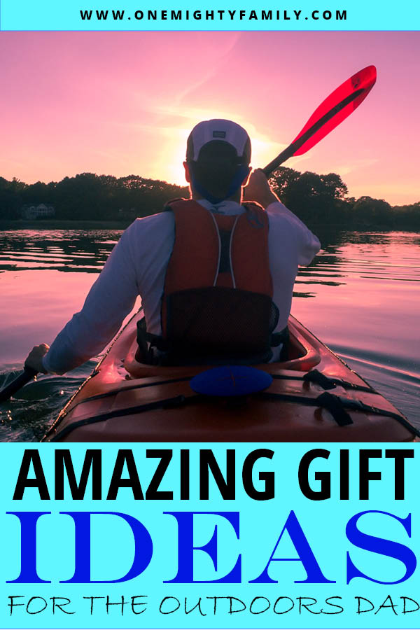 An outdoors dad, sailing in a canoo into the sunset with the caption amazing gift ideas for the outdoors dad
