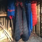 Sleeping bags hanging out to air dry