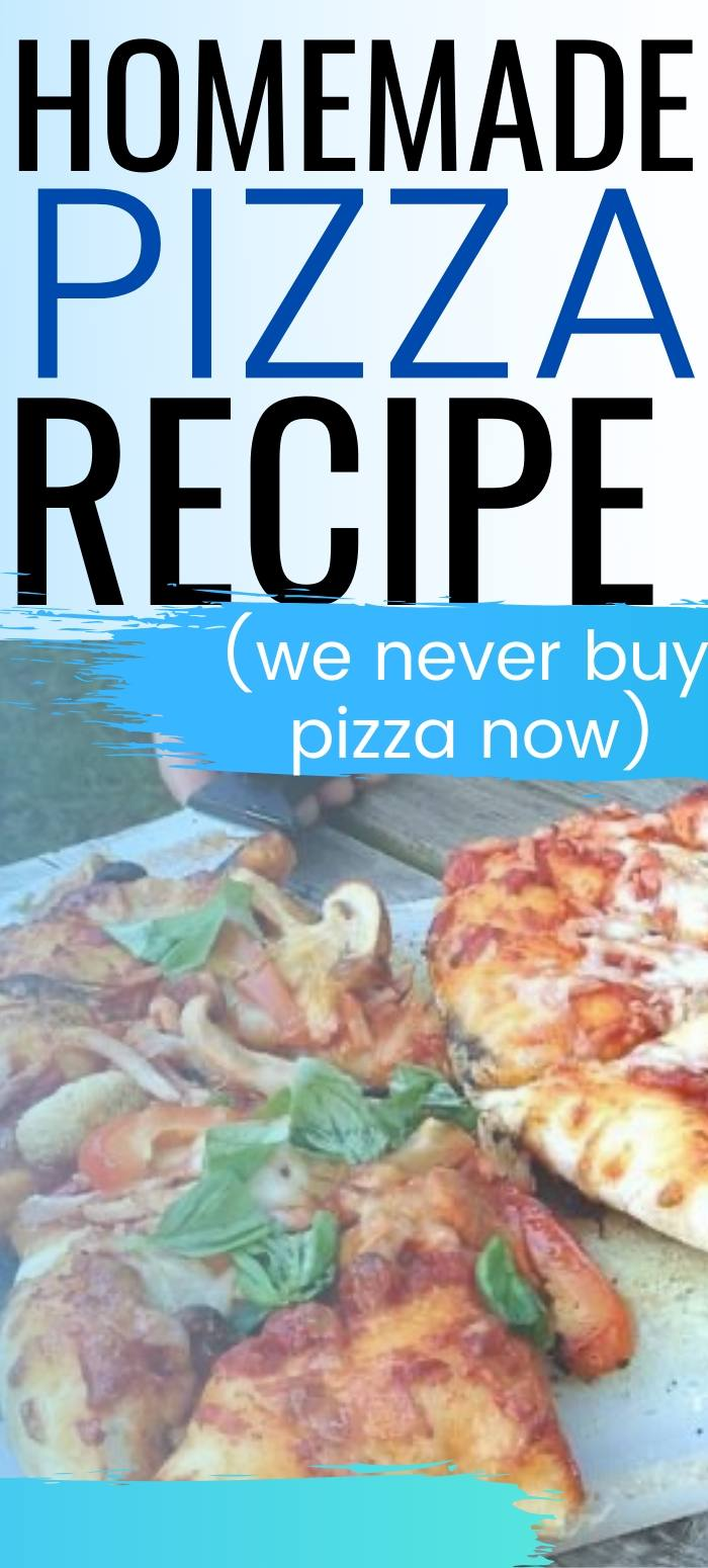Picture of a pizza with the caption, homemade pizza recipe