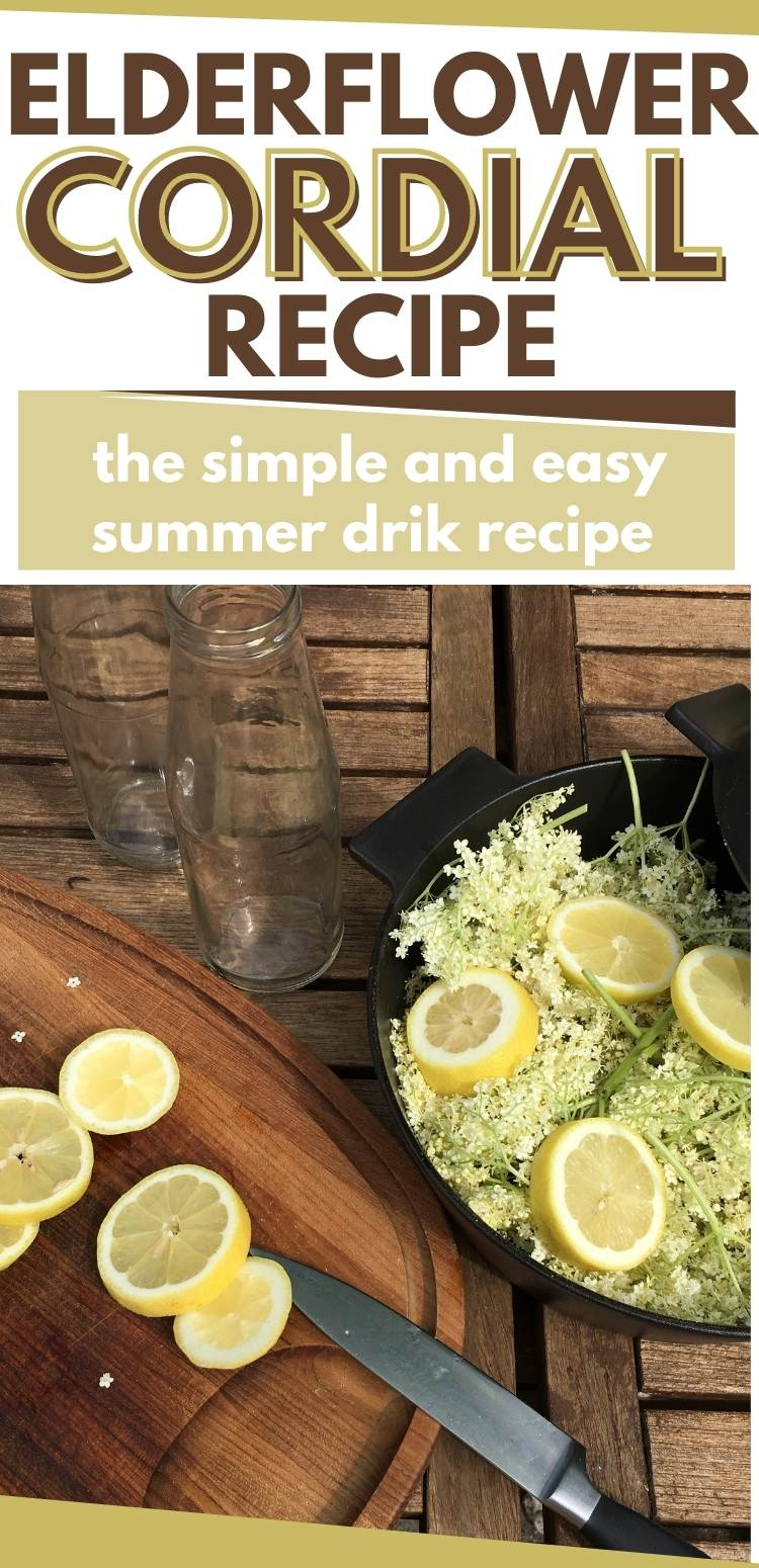 Picture of elderflowers and lemons - with a caption of Elderflower Cordial Recipe.