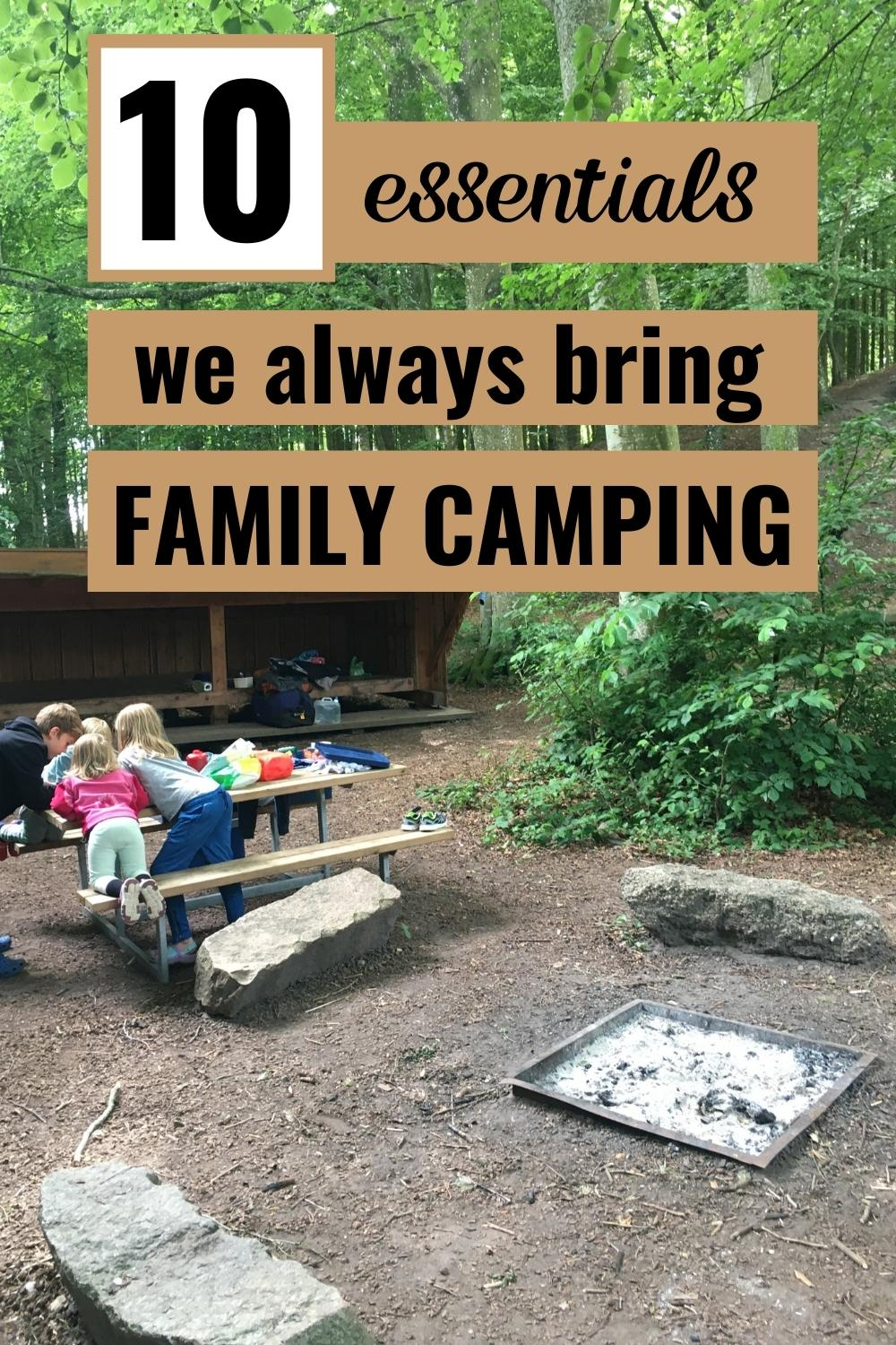 family camping site with 4 kids - pinterest graphic picture with text