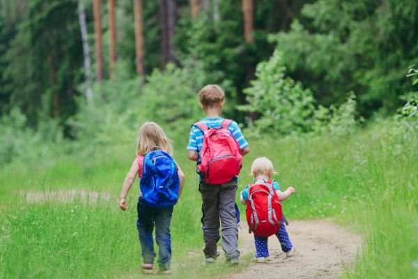 three kids walking on a forest path