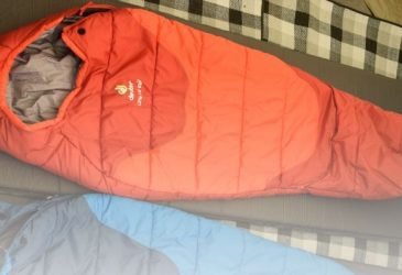 the deuter toddler sleeping bag rolled out in a tent