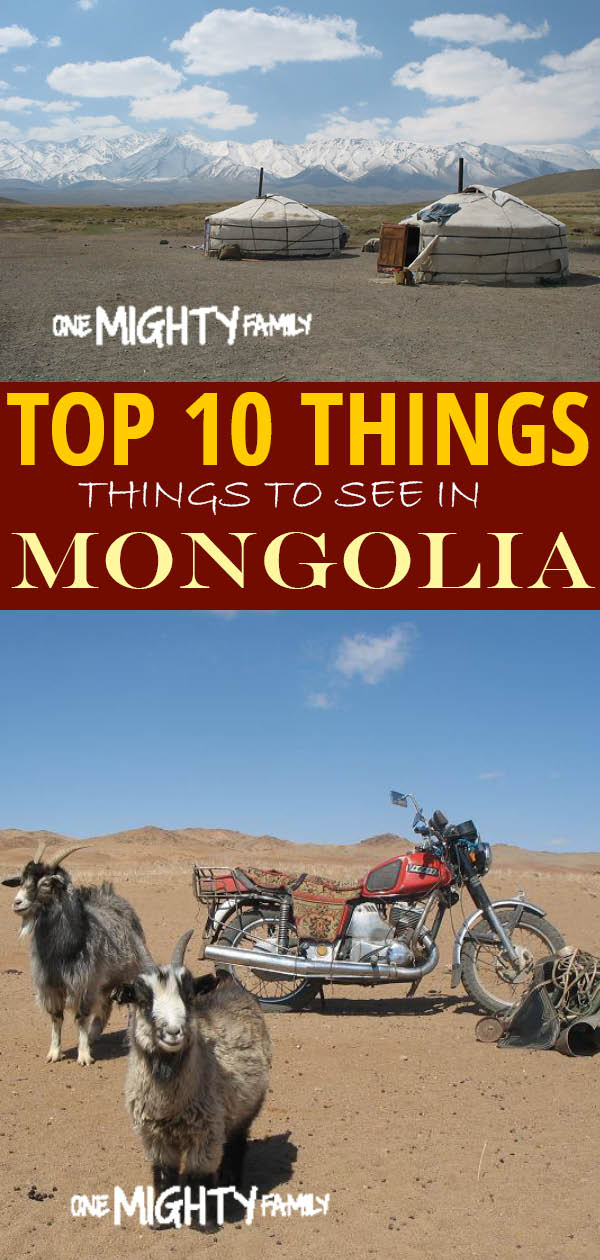"a collage of pictures from Mongolia with the caption ""top 10 things to see in Mongolia"""