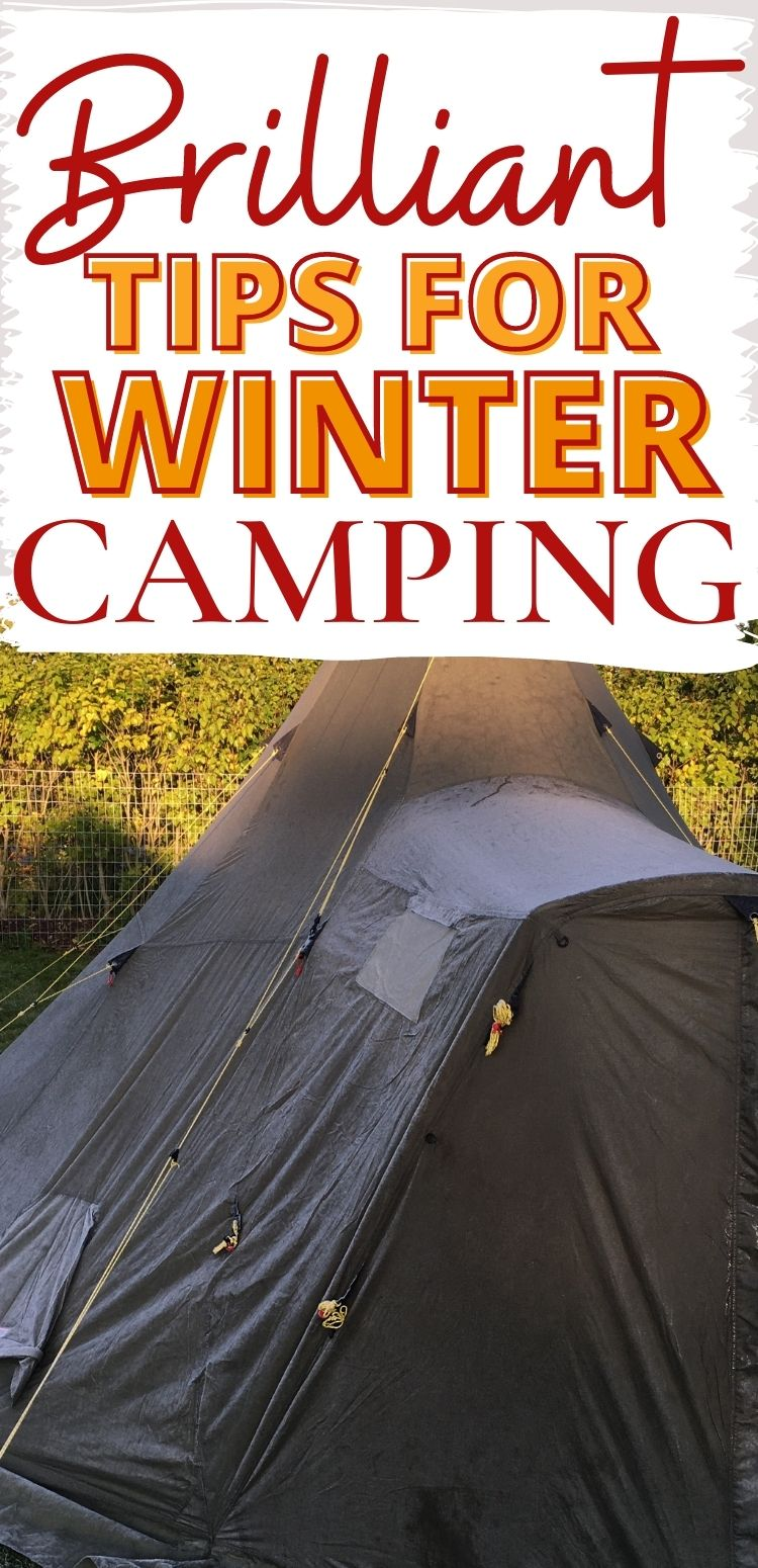 tent with frost on the outside - and a caption of Brilliant tips for winter camping