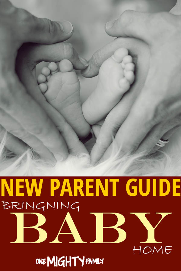 Baby feet gently placed in the hands of parents, with the caption New Parent guide, Bringing baby home