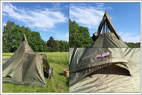 A collage of pictures featuring the varanger camp 8-10 tent. A family tent with a tipi like structure