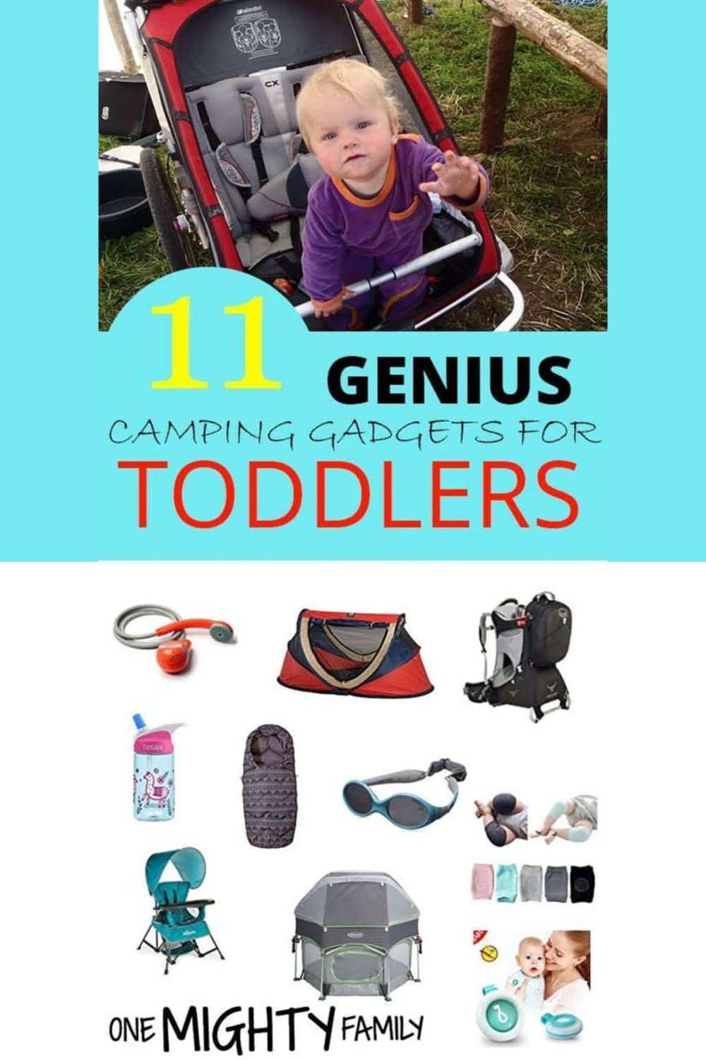 picture of a toddler in a chariot stroler - with pictures of other genius gadgets for toddlers and babies when you go camping