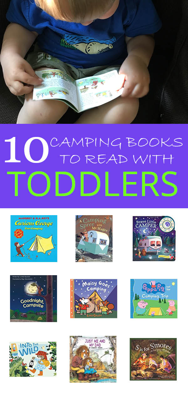 many different books to read with your toddler before a camping trip